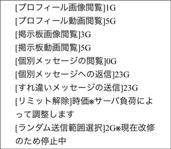 料金表(ポイント減算表)